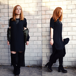 Jana J. - Lucca Puristic Dress, Tamaris Velvet Overknees, Bershka Bomberjacket - New Years Eve