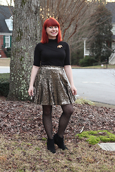 Jamie Rose - Boohoo Black Turtleneck T Shirt, Beetle Pin, Target Gold Sequined Skirt, Betsey Johnson Polka Dot Tights, Target Black Wedge Boots - New Year's Eve 2015