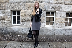 Verena S. - Mango Leather Jacket, Asos Dress, H&M Boots With A Silver Heel, Asos Bag - Silver Heel
