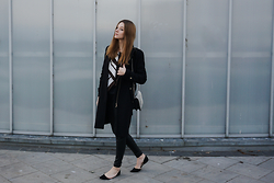 Alicja Szczepanska - Zara Black Coat, Zara Black Flats, New Yorker Black Leather Pants, Ysl Silk Scarf, H&M Black&White Leather Bag - GOOD FOR YOU