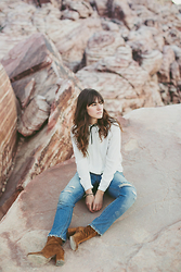 Tonya S. - Forever 21 Ruffle Blouse, Levis 501 Ct, Free People Cecile Ankle Boot - Red Rock at Dusk