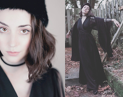 Ama Hatheway - Amazon Black Velvet Choker, Similar Faux Fur Black Hat, Similar Vintage Black Bell Sleeve 1970'S Maxi Dress, Similar Giant Vegan Black Knit Scarf - Makeup & Gowns