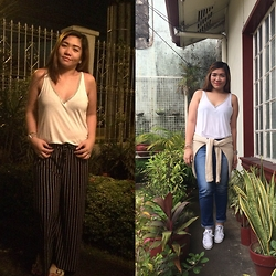 Aizha Guevarra - H&M Deep V Neck, Knitted, Denim, White, Palazzo - Styling 101: Tank Top