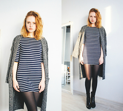 Kristina Magdalina - Cndirect Dress, Oasap Cardigan - STRIPED MINI DRESS.