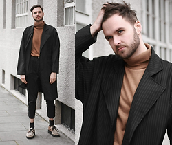 Geraint Donovan-Bowen - Sammy Dress Duster Coat, New Look Roll Neck, Sparks Trousers, H&M Socks, Underground Shoes - His Name Is Breezy
