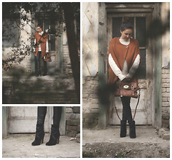 Marijana M - Yoins Camel Cape, Mulberry Alexa Bag, Vince Camuto Black Boots, Bershka Leather Leggings, Atmosphere Warm Sweater - Winter Blizzard