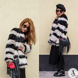 Diana Manolova - Bershka Black And White Striped Furry Coat, Urban Outfitters Sunglasses, Unknown Beret, H&M Fringe Bag, Zara Long Black Dress, Zara Boots, Victoria's Secret Pink Iphone Case Lips - Accessories Matter