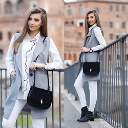 Larisa Costea - Romwe Vest, Shein Shirt - The grey vest