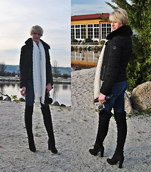 TheBerlindreamer - Giorgio Armani Down Jacket, Levi's® Jeans, Zalando Overknees, Fraas Scarf - Winter is coming