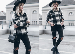 Mikuta - Edited Sweater, Zara Jeans, Goorin Brothers Hat, Ganni Bag, Circus By Sam Edelman Shoes - CHECK SWEATER