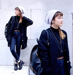 Leanne A - H&M Beanie, Aldo Earrings, Aldo Necklace, Aldo Backpack, Forever21 Jeans, H&M Chunky Heel - New color