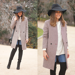 Besugarandspice FV - Zara Coat, Mango Boots, Coach Bag, Zara Sweater - HOUNDSTOOTH COAT