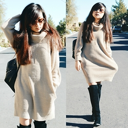 Sarah D. - Turtle Neck Knit Sweater, Over The Knee Boots - Hello, It's Me.