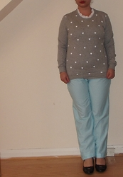 Selina M - Yesstyle Heart Print Jumper, Self Made Polka Dot Trousers - Now I've seen you've broken a feather