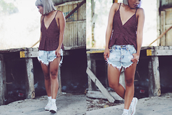 Zalina Rosli - Alice In The Eve V Neck Cami, One Teaspoon Distressed Shorts, Converse Platform High Top - IN RUINS