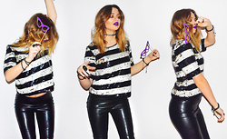 Sabina B - H&M Highwaisted Leather Pants, Lindex Stripy Sequin Top, Accessorize Tattoo Choker - Choose to shine.