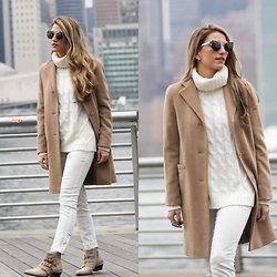 Cassandra DiMicco - Camel Trench Coat, Ivory Turtleneck, Chloe Boots - Winter Whites