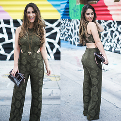 Laura Bustelo - Nixie Clothing Green Lace Romper, Kate Spade Brown Purse - Green Lace Romper