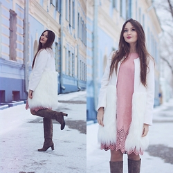 Sasha Shcherbakova - Chicwish Dress, Chicwish Coat - Pink+White