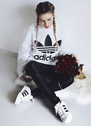 Cristina Musacchio - Adidas Sweatshirt, Zara Leather Pants, Adidas Shoes - Red roses