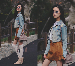 Jennifer Wang - Freyrs Ombre Blue Aviators, Her Velvet Vase Eyelet Top, Her Velvet Vase Faux Suede Skirt, Her Velvet Vase Eyelet Bucket Bag - ON THE ROAD