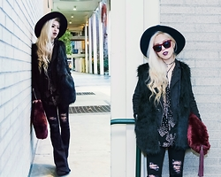 Aika Y - Asos Wide Brim Fedora, Vidakush Suede Beaded Chocker, Lulu*S Suede Moto Jacket, Cndirect Faux Fur Vest, Asos Ripped Flare Jeans, Thrifted Star Printed Blouse, Asos Fur Clutch - Ultimate All Black