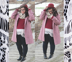 Katie - Bowler Hat, Pink Marled Coat, Ribbed Maroon Cropped Sweater, Lace Tunic, Jeans, Cut Out Boots - Winter Layers