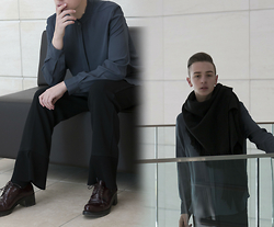 Paul Conrad Schneider - 3.1 Phillip Lim Top, Helmut Lang Pants, Prada Shoes, Topshop Scarf - Heavy Shoulder
