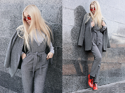 Krist Elle - Wholesale7 Gray Woolen Jumpsuit, Dresslink.Com Gray Woolen Coat, Zerouv Round Sunglasses Red Lens - Shades of gray