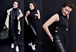 Adriana Style - River Island Long Knit Top, Tkmaxx Leather Trousers, River Island Plimsolls, River Island Bag, Pull&Bear Leather Jacket, New Look Cape - Black and Navy