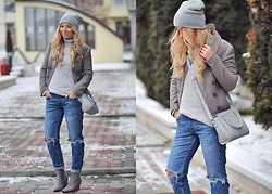 Andreea Ristea - Zara Ripped Jeans, Choies Grey Boots - Shades of grey