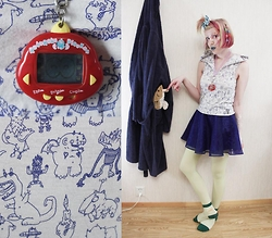 Lindwormmm - Thrifted Cartoon Print Hooded Tank Top, Lavender Latte Bmo Bow, Tamagotchi Dinosaur, Hello Sweetie Store Band Aid Print Socks, Ebay Colorful Hairclips - Tamagotchi Kid