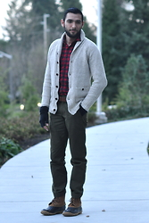 Hector Diaz - J. Crew Cardigan (Similar), J. Crew Oxford Buffalo Shirt, J. Crew Olive Green Chinos, Club Monaco Fingerless Cashmere Gloves (Similar), Lacrosse Duck Boots - That Northwest Life