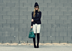 Lindsey Simon - H&M Black Beanie, American Eagle Outfitters Black Blazer, Zara Black Turtleneck Sweater, Report Otk Boots, Target White Denim - White jeans in winter
