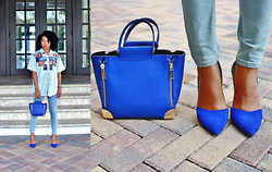 Natasha Lee - Blue Pumps, Blue Cross Body Bag - More Denim