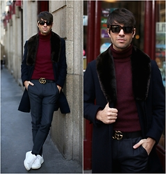 Filippo Fiora - Celine Sunglasses, Gucci Belt, Uniqlo Turtleneck, Church's Sneakers, Caruso Coat, Incotex Pants - COMFORT ZONE