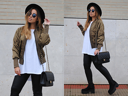 Claudia Villanueva - H&M Hat, New Chic Jacket, Zara T Shirt, Dressin Sunglasses, Chanel Bag, Mango Leggings, Asos Boots - Quilted Bomber Jacket