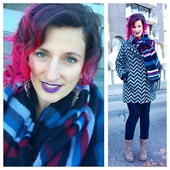 Mary Craig - Groove Brown Boots, Modena Striped Scarf, Numph Chevron Coat, Clutch Jewels Earrings, Revlon Purple Matte Lisptick - Winter walks mean layer up
