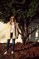 Kerry M - Forever 21 Shag Coat, Gap Jeans, Sam Edelman White Studded Loafers, Forever 21 White Button Down, Marc By Jacobs Sunglasses - Faux 2016