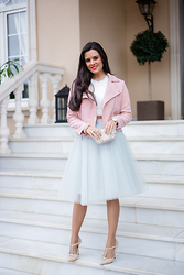 Maria Jesus Garnica - Space 46 Boutique Tulle Skirt, Choies Biker Jacket - Dove Gray Tulle Skirt