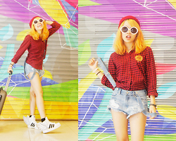 Alixandrea O. - Ralph Lauren Red Black Plaids, H&M Denim Jumper, Forever 21 Red Beanie, Adidas Jeremy Scott - Fly in Plaids