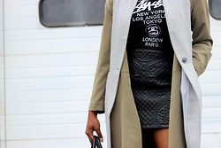 Kee Simone - Stüssy Stussy Womens Shirt, H&M Embroidered Skirt, H&M Green Duster, White House Black Market Grey Sleeveless Duster - The Mini Masterpiece