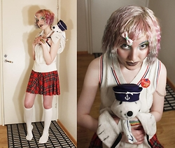Lindwormmm - Madmoiselle Opossum Sailor Hat, Ivana Helsinki Sailor Collar, Golf Vest, Black Milk Clothing Red Tartan Skirt, Ebay Floral Bow, White Thigh High Socks, Thrifted Seal Stuffed Toy Backpack - Sailor Seal