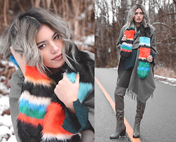 Alanna Durkovich - Asos Faux Fur Scarf, Pieces Blanket Scarf, Aldo Over The Knee Boots - Regular Ol' Self