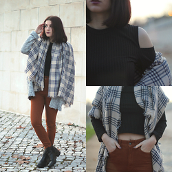 Adriana R. - Cndirect Off Shoulder Sweater, Cndirect Long Knit Tartan Scarf - OFF-SHOULDERS + EXTRA COZY SCARF