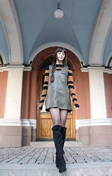 Paz Halabi Rodriguez - Lindex Stripes Ribbed Top, Zara Leather Olive Dress, H&M Over The Knee Boots - Leather Olive Dress