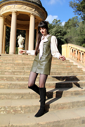 Paz Halabi Rodriguez - Vintage Pussy Bow Blouse, Zara Leather Olive Dress, H&M Over The Knee Boots - THE SEVENTIES ON TOP!