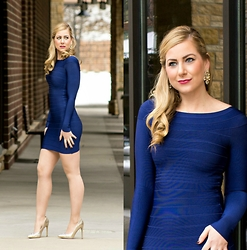 Rachel @Rachel's Lookbook - Kewl Shop Blue Bandage Dress, Steve Madden Heels, Kate Spade Earrings - Birthday Month