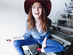 Ms. Morgan Ryan - Calvin Klein Denim Shirt, J. Crew Blue Jeans, Polo Ralph Lauren Rain Boots, H&M Floppy Hat - THE M O O D Y BLUES