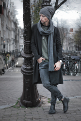George Alvin - Weekday Weekdy Jeans, Aldo Chelsea Boot, Nautica Coat, Allsaints All Saints Sweater, Topman Beanie - Layered Vibes